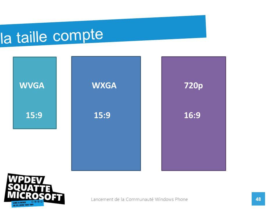 48Lancement de la Communauté Windows Phone la taille compte WVGAWXGA720p 15:9 16:9