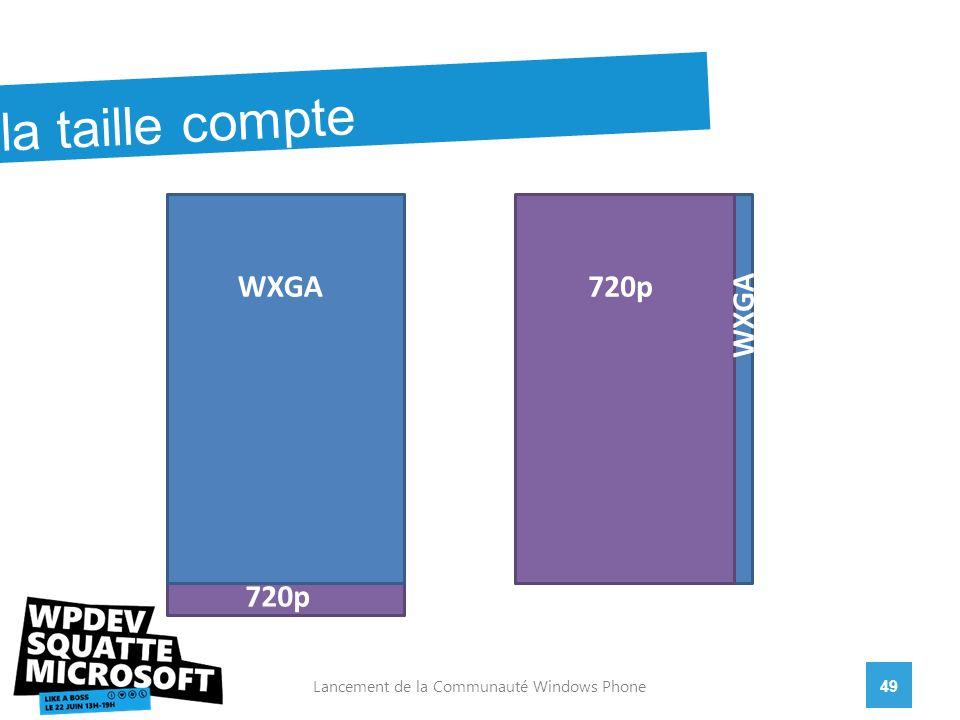 49Lancement de la Communauté Windows Phone WVGA WXGA 720p 15:9 720p la taille compte WXGA 720p WXGA