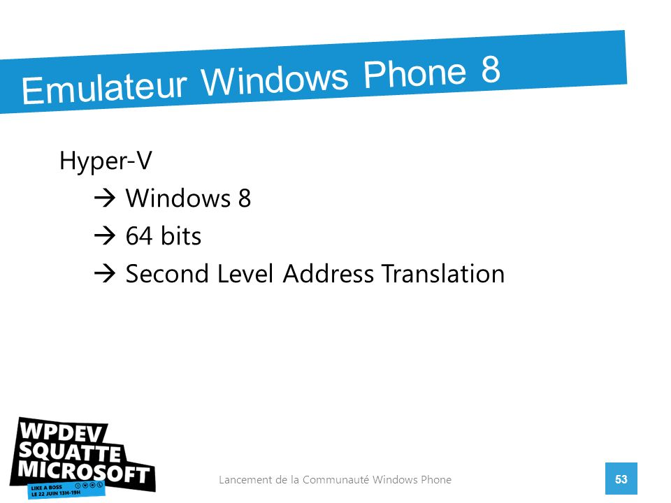 Hyper-V Windows 8 64 bits Second Level Address Translation 53Lancement de la Communauté Windows Phone Emulateur Windows Phone 8