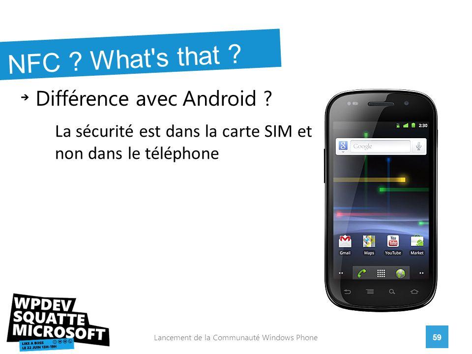 Différence avec Android . 59Lancement de la Communauté Windows Phone NFC .