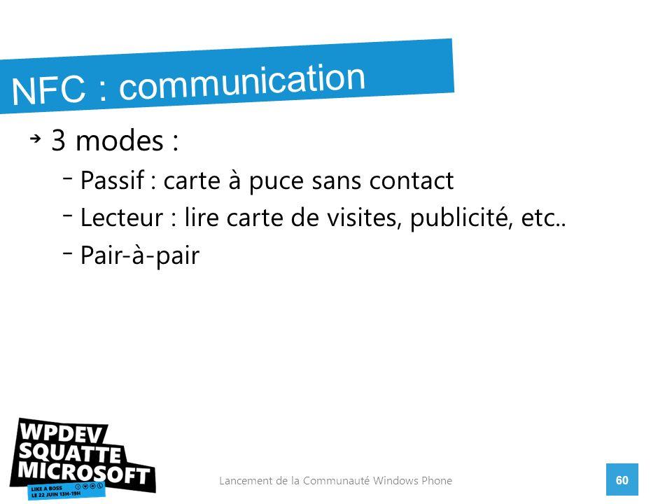 3 modes : Passif : carte à puce sans contact Lecteur : lire carte de visites, publicité, etc..