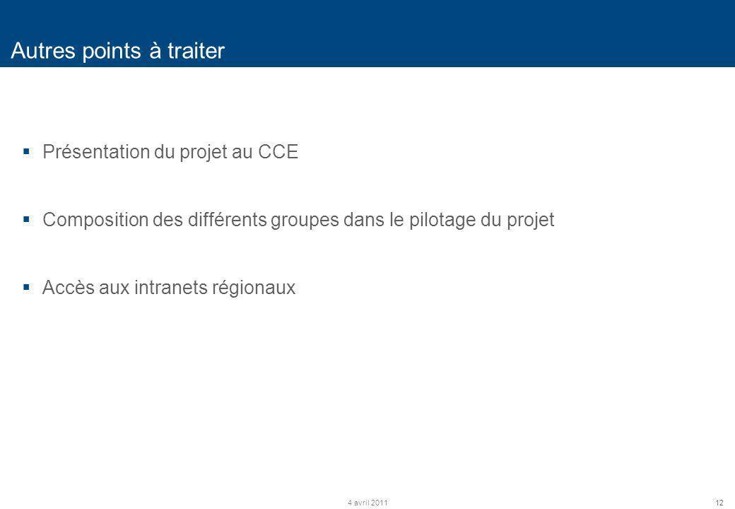 12 Autres points à traiter 4 avril 2011 Présentation du projet au CCE Composition des différents groupes dans le pilotage du projet Accès aux intranet