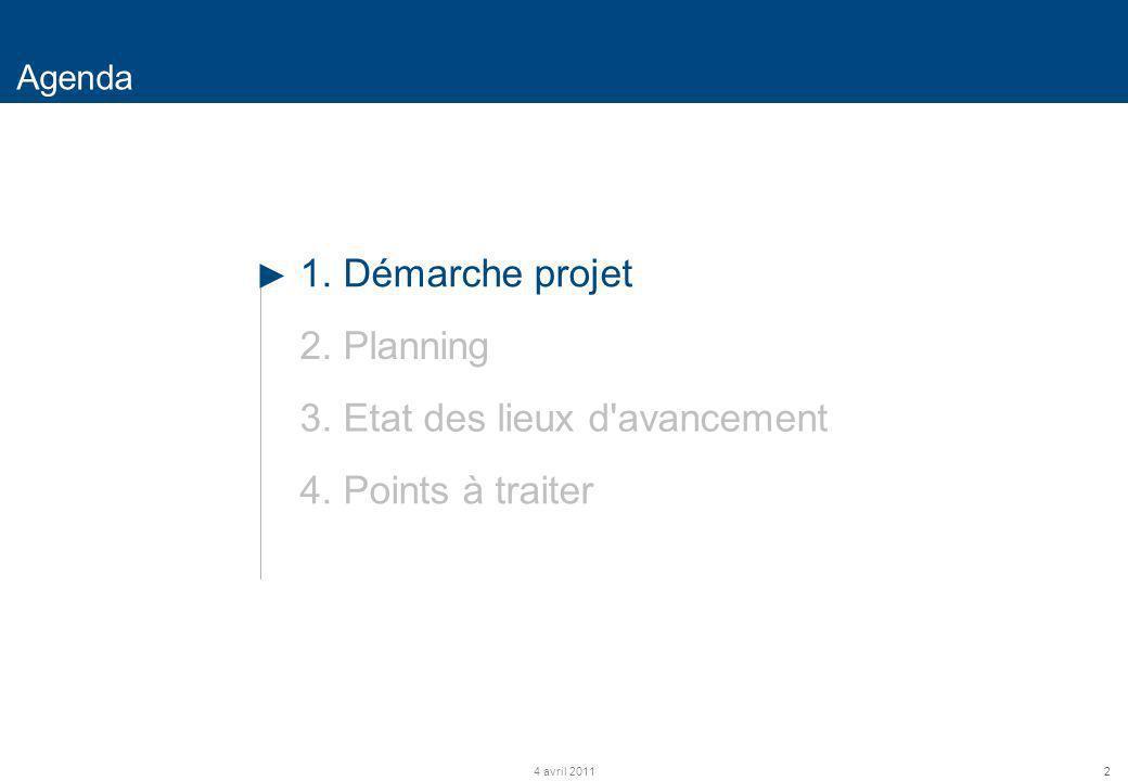 2 Agenda 4 avril 2011 1. Démarche projet 2. Planning 3. Etat des lieux d'avancement 4. Points à traiter