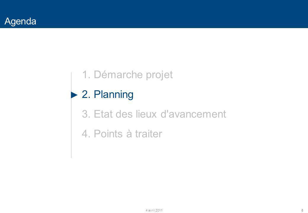 6 Agenda 4 avril 2011 1. Démarche projet 2. Planning 3. Etat des lieux d'avancement 4. Points à traiter