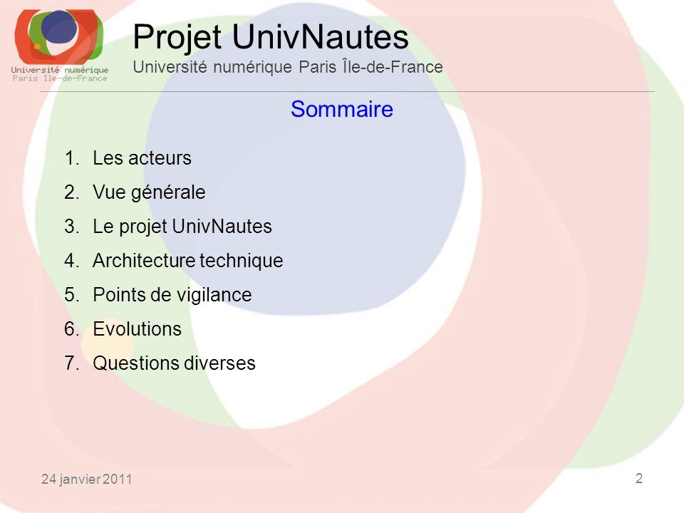 24 janvier 2011 2 Sommaire Projet UnivNautes Université numérique Paris Île-de-France 1.Les acteurs 2.Vue générale 3.Le projet UnivNautes 4.Architecture technique 5.Points de vigilance 6.Evolutions 7.Questions diverses