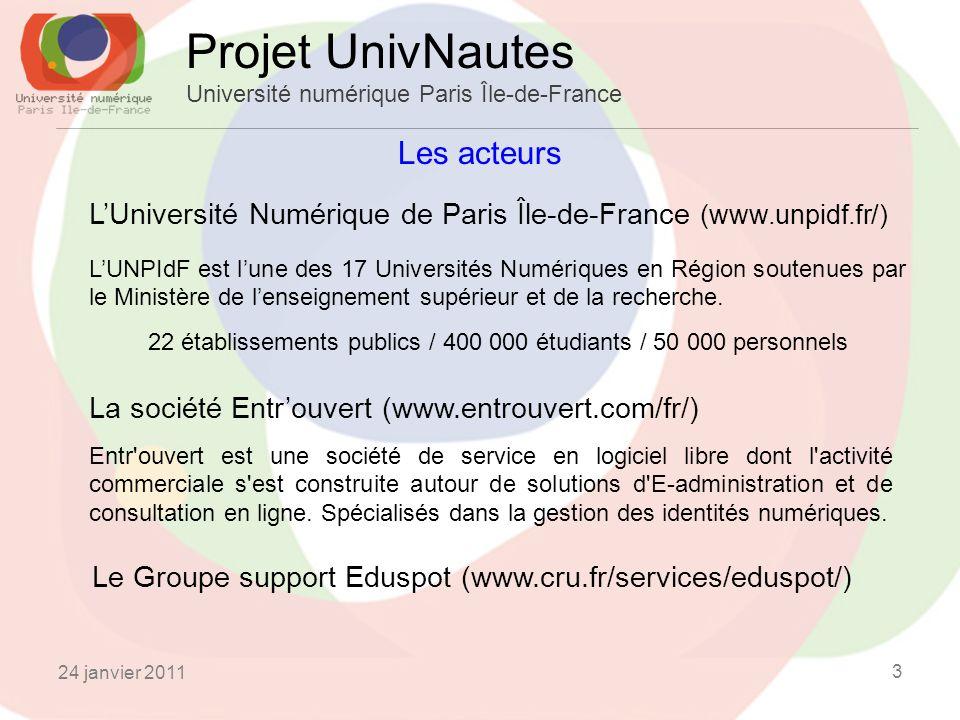 Les acteurs Projet UnivNautes Université numérique Paris Île-de-France LUniversité Numérique de Paris Île-de-France (www.unpidf.fr/) LUNPIdF est lune des 17 Universités Numériques en Région soutenues par le Ministère de lenseignement supérieur et de la recherche.