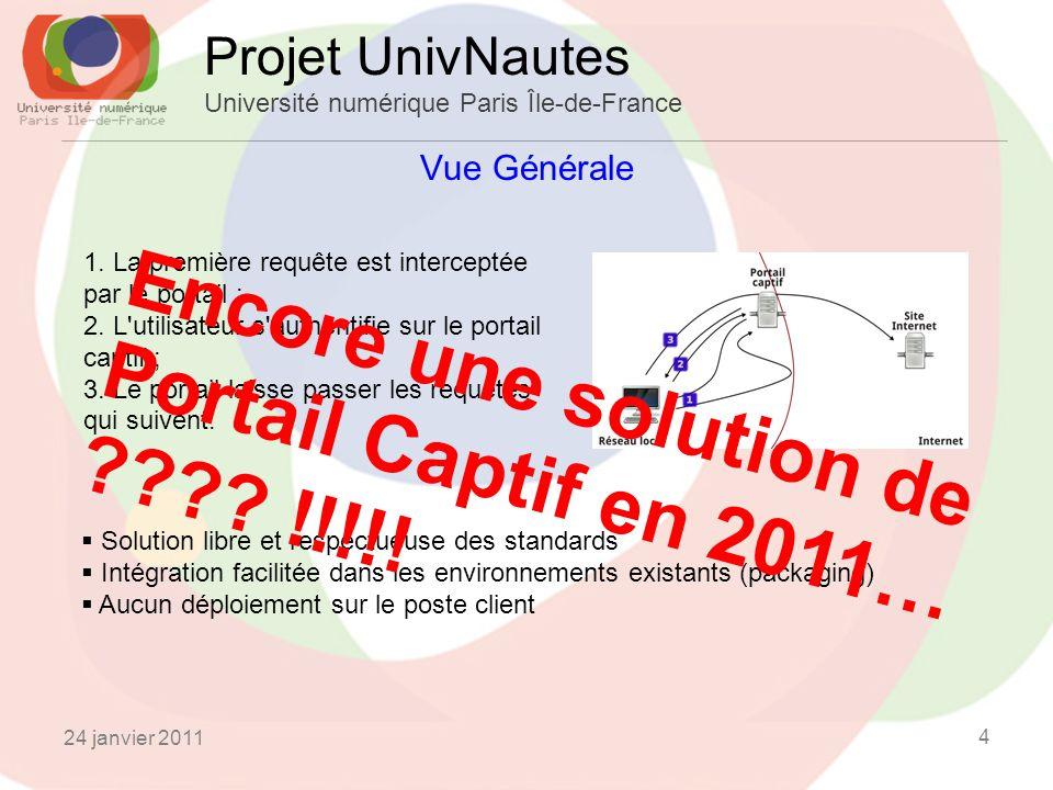 24 janvier 2011 4 Vue Générale Projet UnivNautes Université numérique Paris Île-de-France 1.