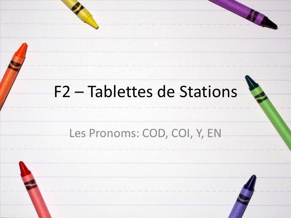 F2 – Tablettes de Stations Les Pronoms: COD, COI, Y, EN