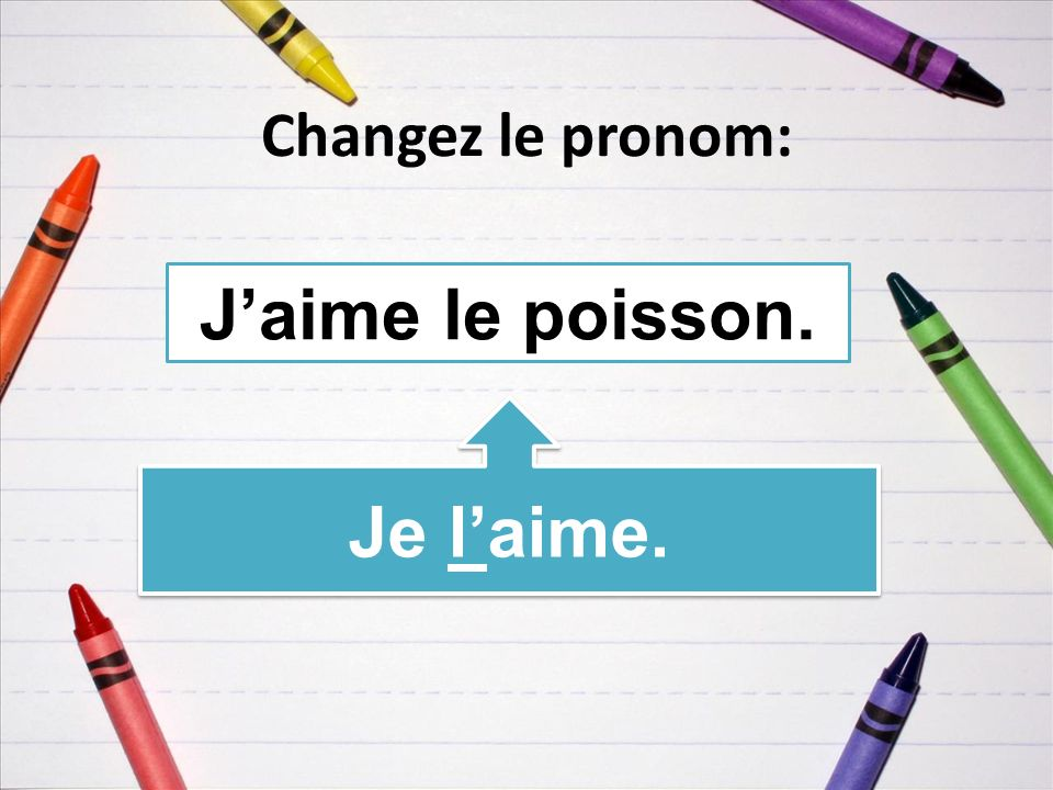 Changez le pronom: Jaime le poisson. Je laime.