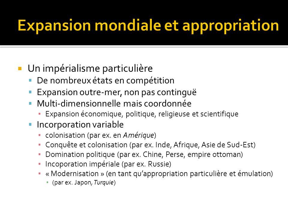 Un impérialisme particulière De nombreux états en compétition Expansion outre-mer, non pas continguë Multi-dimensionnelle mais coordonnée Expansion éc
