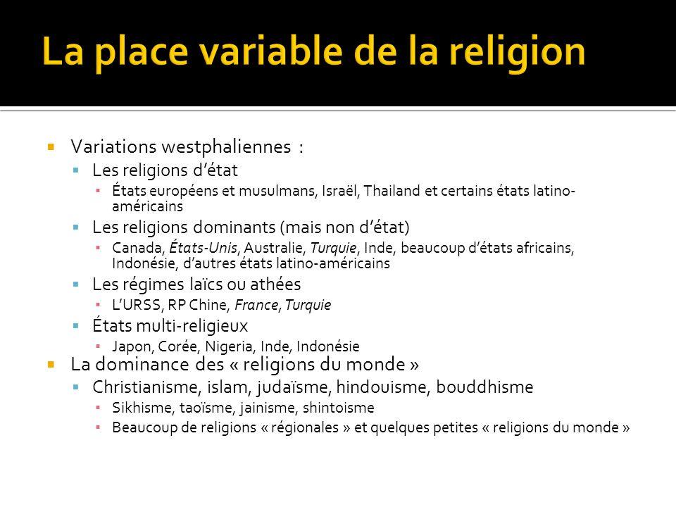 Variations westphaliennes : Les religions détat États européens et musulmans, Israël, Thailand et certains états latino- américains Les religions domi