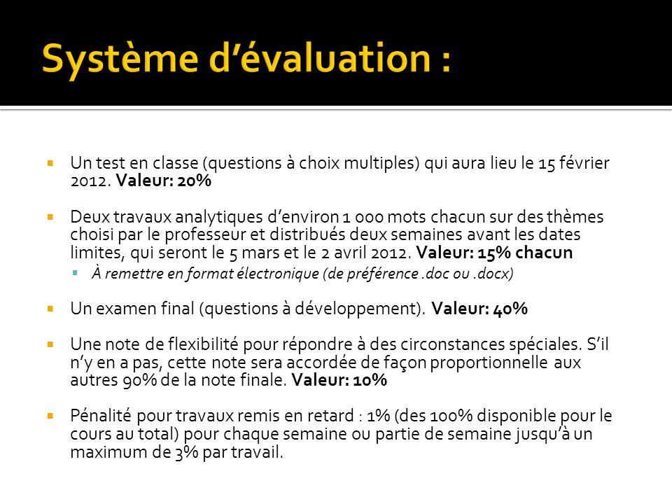 Un test en classe (questions à choix multiples) qui aura lieu le 15 février 2012. Valeur: 20% Deux travaux analytiques denviron 1 000 mots chacun sur
