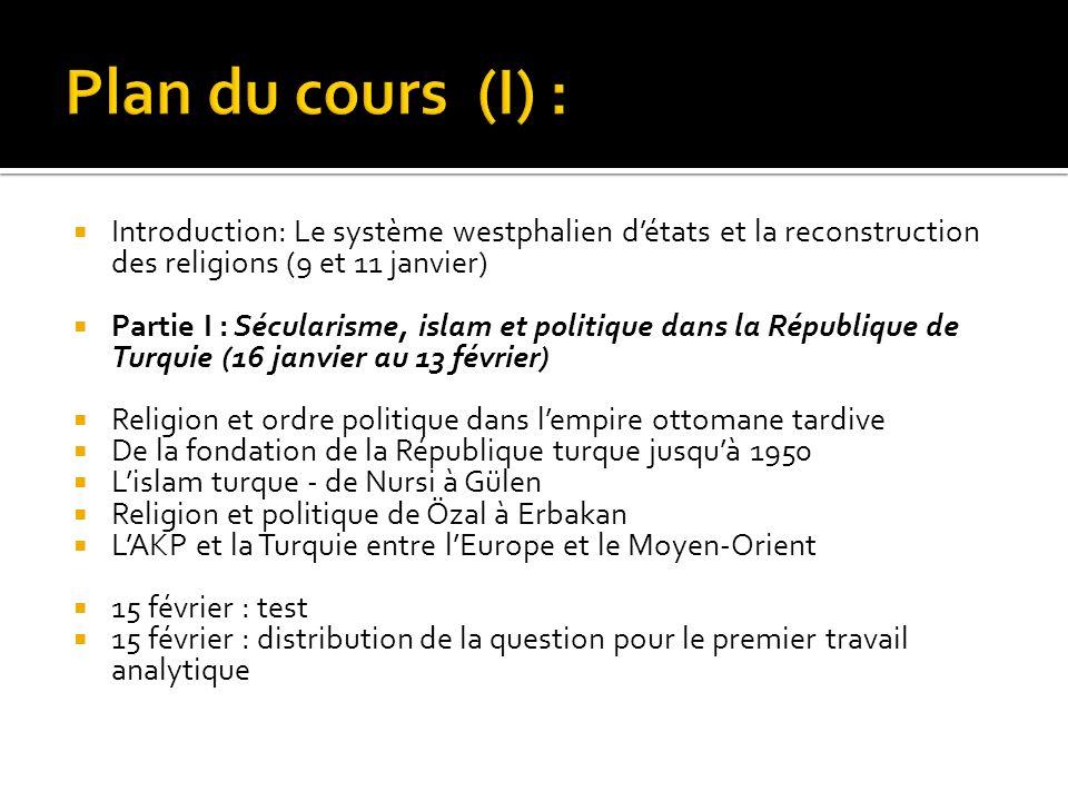 Introduction: Le système westphalien détats et la reconstruction des religions (9 et 11 janvier) Partie I : Sécularisme, islam et politique dans la Ré