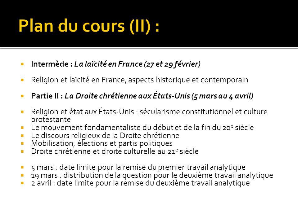 Intermède : La laïcité en France (27 et 29 février) Religion et laïcité en France, aspects historique et contemporain Partie II : La Droite chrétienne