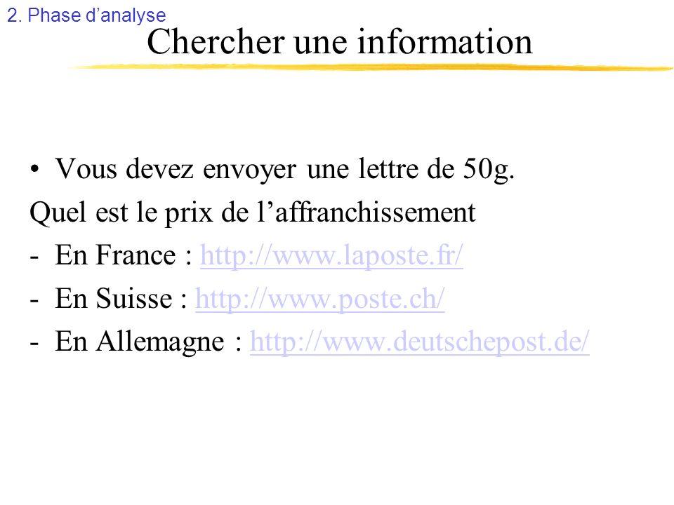 Chercher une information Vous devez envoyer une lettre de 50g. Quel est le prix de laffranchissement -En France : http://www.laposte.fr/http://www.lap