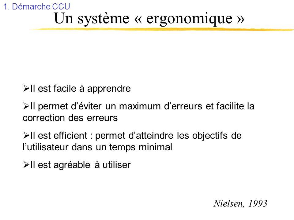 Un système « ergonomique » Il est facile à apprendre Il permet déviter un maximum derreurs et facilite la correction des erreurs Il est efficient : pe