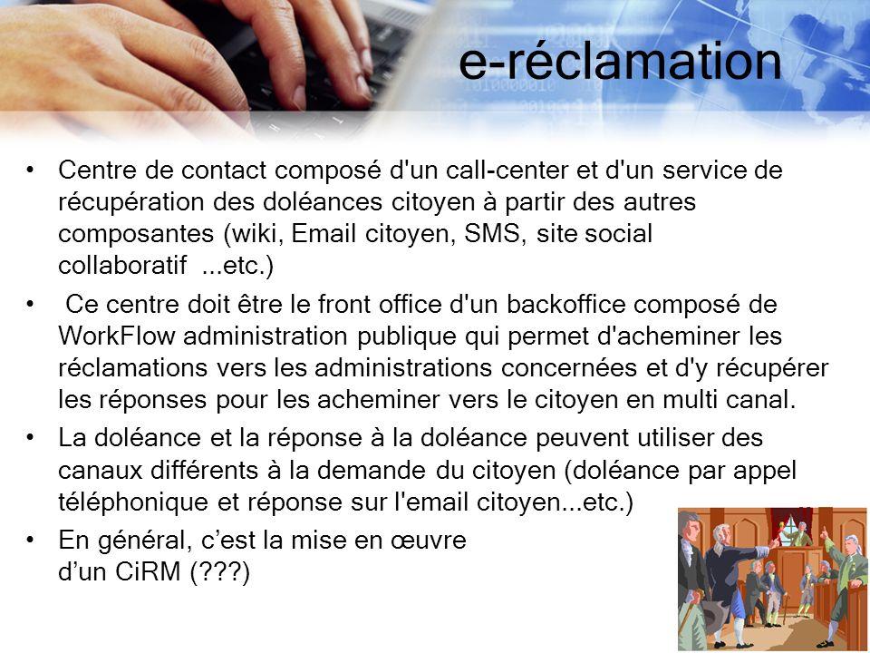 e-réclamation Centre de contact composé d'un call-center et d'un service de récupération des doléances citoyen à partir des autres composantes (wiki,