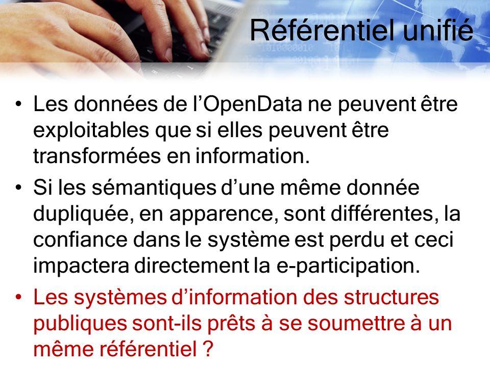 Référentiel unifié Les données de lOpenData ne peuvent être exploitables que si elles peuvent être transformées en information. Si les sémantiques dun