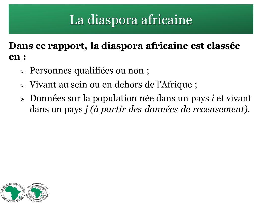 La diaspora africaine Dans ce rapport, la diaspora africaine est classée en : Personnes qualifiées ou non ; Vivant au sein ou en dehors de lAfrique ; Données sur la population née dans un pays i et vivant dans un pays j (à partir des données de recensement).