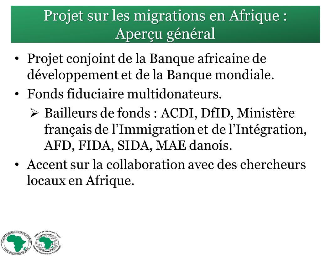 Projet sur les migrations en Afrique : Aperçu général Projet conjoint de la Banque africaine de développement et de la Banque mondiale.