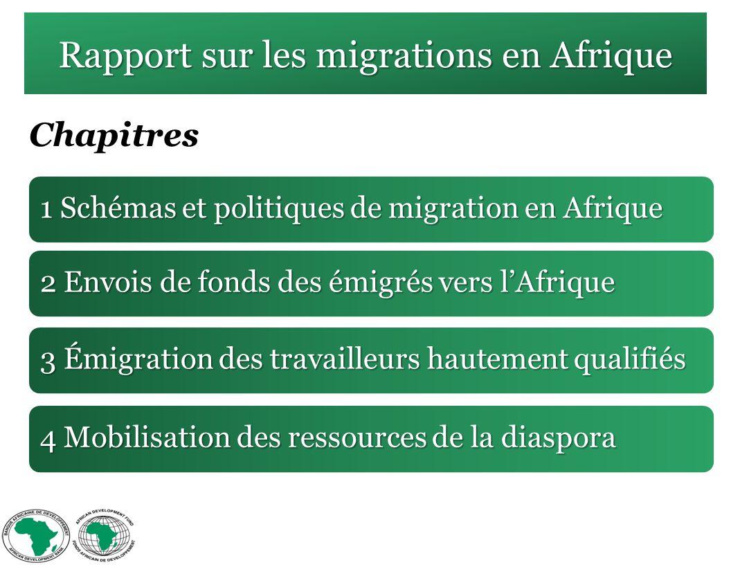 Rapport sur les migrations en Afrique 1 Schémas et politiques de migration en Afrique 2 Envois de fonds des émigrés vers lAfrique 3 Émigration des travailleurs hautement qualifiés 4 Mobilisation des ressources de la diaspora Chapitres