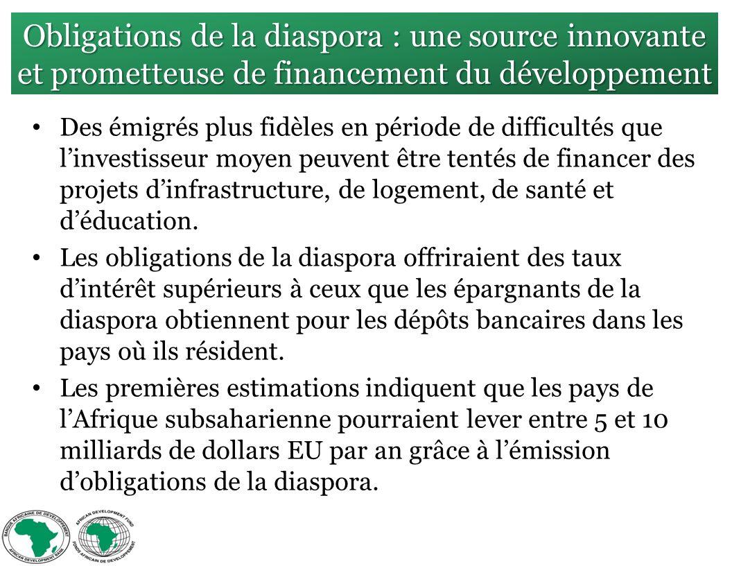 Obligations de la diaspora : une source innovante et prometteuse de financement du développement Des émigrés plus fidèles en période de difficultés que linvestisseur moyen peuvent être tentés de financer des projets dinfrastructure, de logement, de santé et déducation.