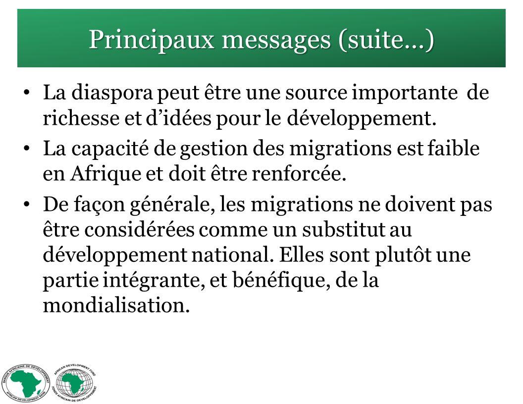Principaux messages (suite…) La diaspora peut être une source importante de richesse et didées pour le développement.