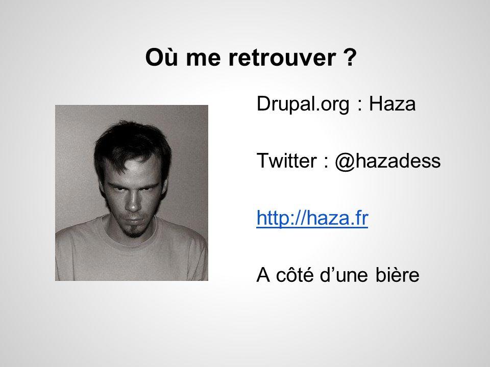 Où me retrouver ? Drupal.org : Haza Twitter : @hazadess http://haza.fr A côté dune bière