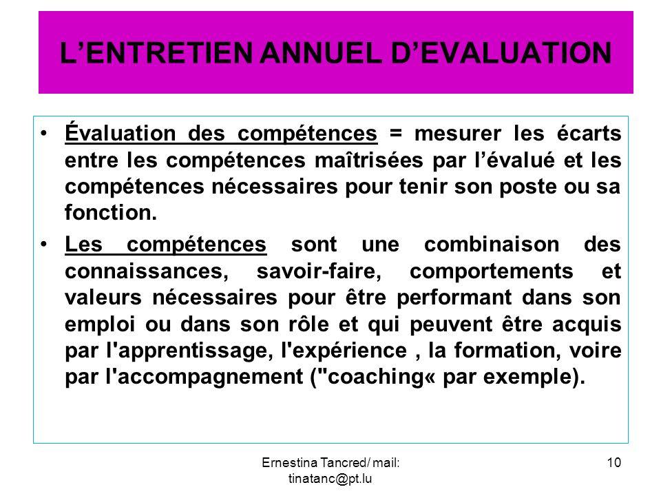 Évaluation des compétences = mesurer les écarts entre les compétences maîtrisées par lévalué et les compétences nécessaires pour tenir son poste ou sa