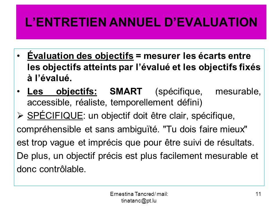 Évaluation des objectifs = mesurer les écarts entre les objectifs atteints par lévalué et les objectifs fixés à lévalué. Les objectifs: SMART (spécifi