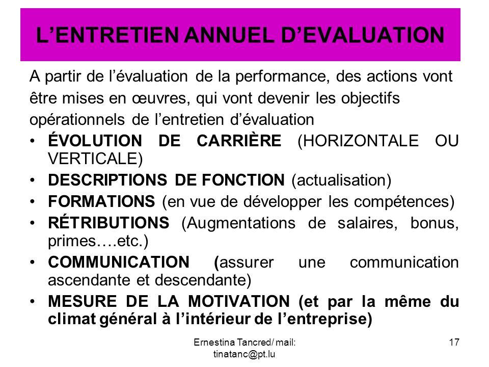 A partir de lévaluation de la performance, des actions vont être mises en œuvres, qui vont devenir les objectifs opérationnels de lentretien dévaluati