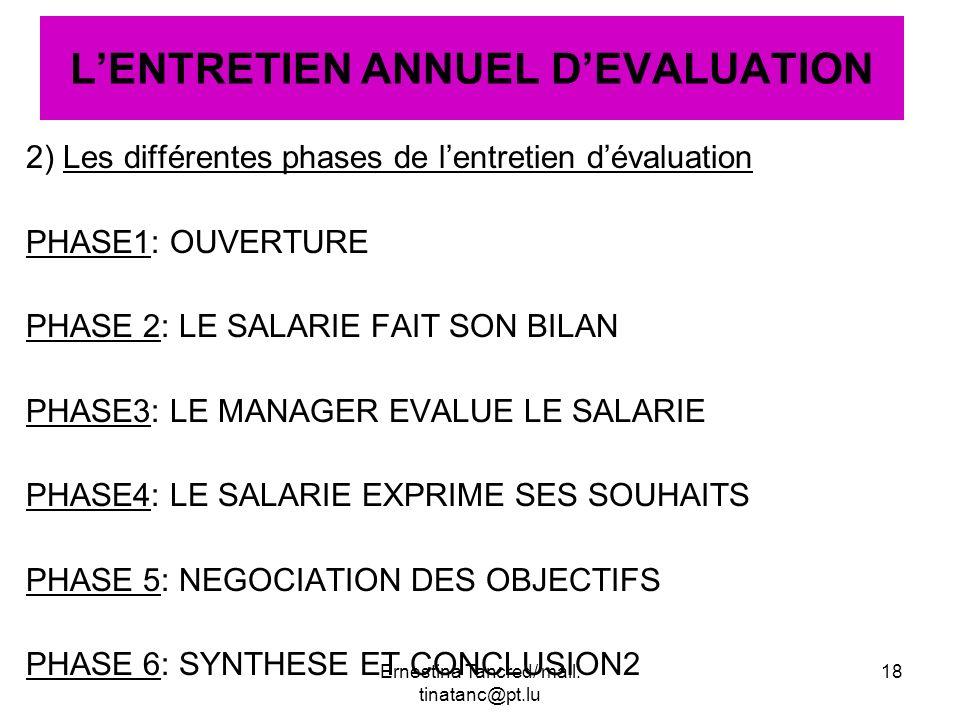 2) Les différentes phases de lentretien dévaluation PHASE1: OUVERTURE PHASE 2: LE SALARIE FAIT SON BILAN PHASE3: LE MANAGER EVALUE LE SALARIE PHASE4: