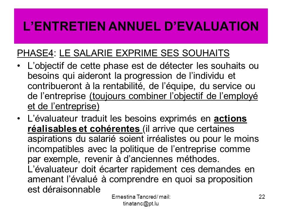 PHASE4: LE SALARIE EXPRIME SES SOUHAITS Lobjectif de cette phase est de détecter les souhaits ou besoins qui aideront la progression de lindividu et c