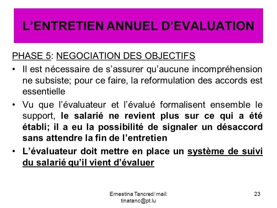 PHASE 5: NEGOCIATION DES OBJECTIFS Il est nécessaire de sassurer quaucune incompréhension ne subsiste; pour ce faire, la reformulation des accords est