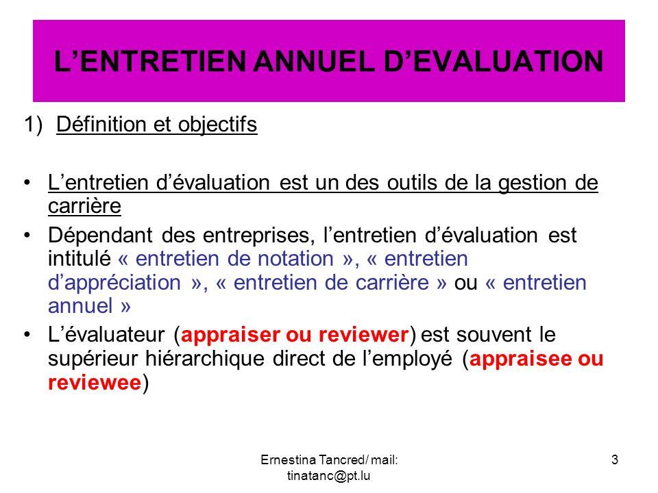 1)Définition et objectifs Lentretien dévaluation est un des outils de la gestion de carrière Dépendant des entreprises, lentretien dévaluation est int