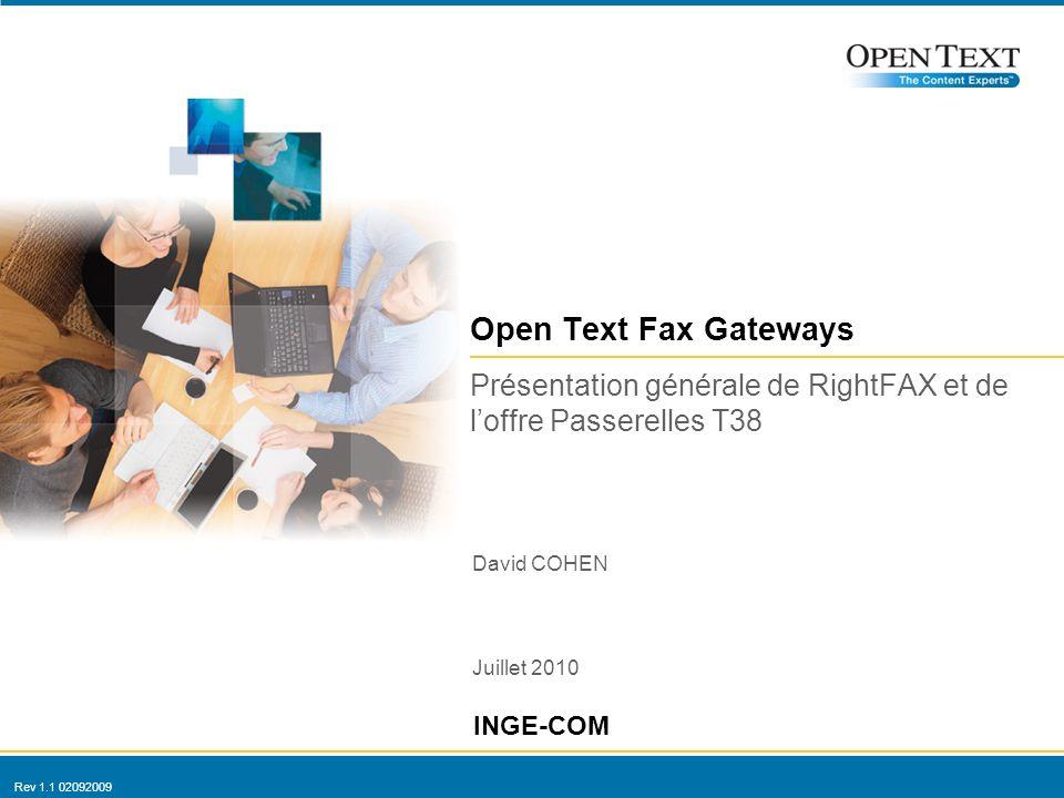 Rev 1.1 02092009 Open Text Fax Gateways David COHEN Juillet 2010 INGE-COM Présentation générale de RightFAX et de loffre Passerelles T38