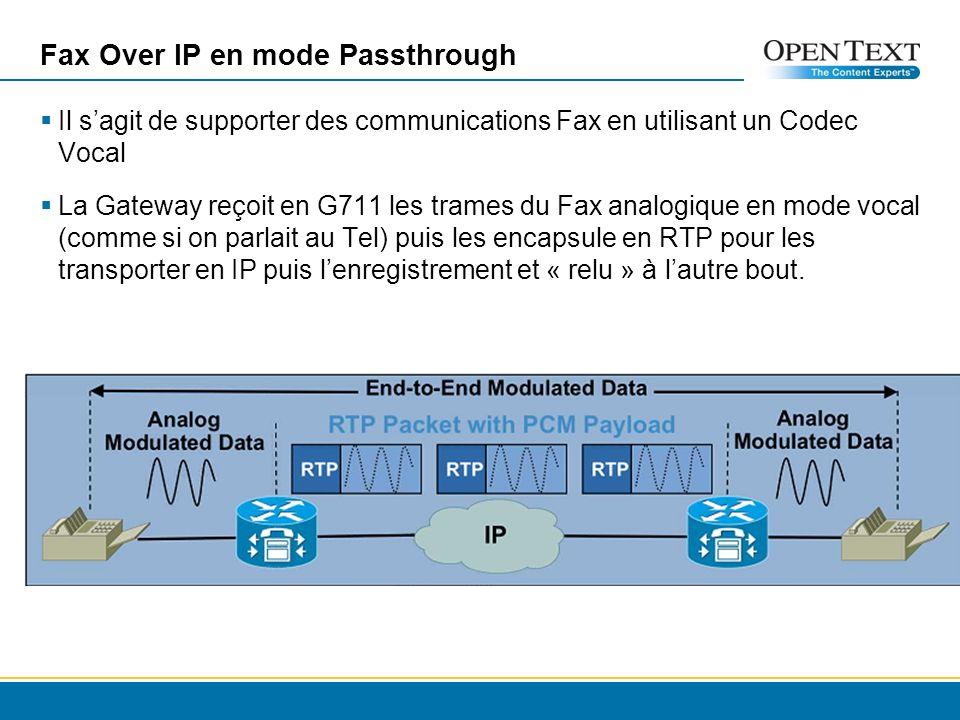 Fax Over IP en mode Passthrough Il sagit de supporter des communications Fax en utilisant un Codec Vocal La Gateway reçoit en G711 les trames du Fax analogique en mode vocal (comme si on parlait au Tel) puis les encapsule en RTP pour les transporter en IP puis lenregistrement et « relu » à lautre bout.