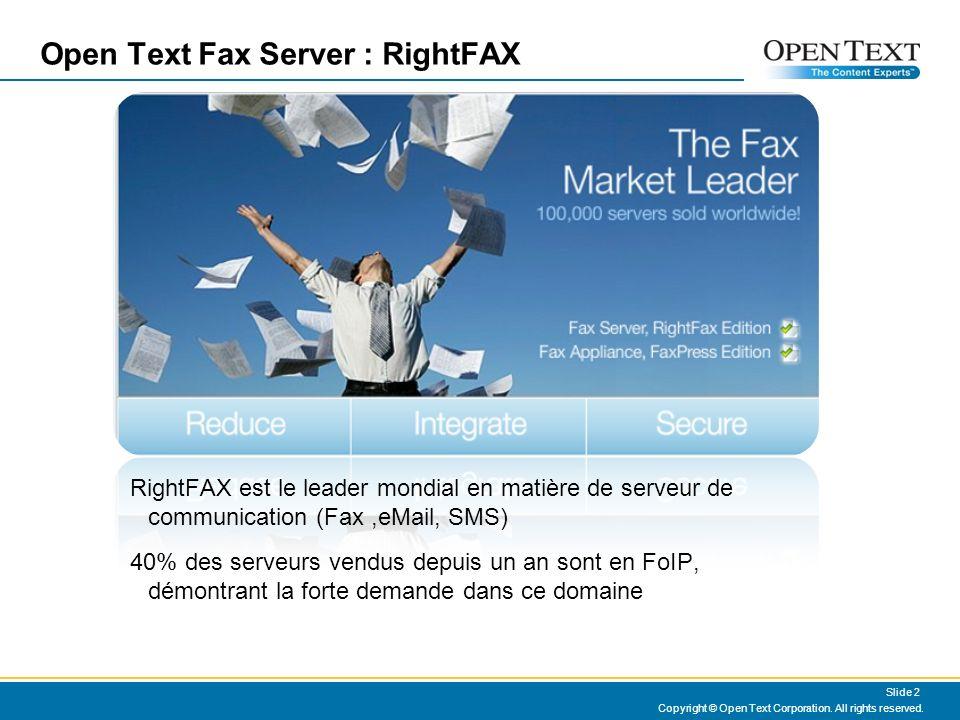 Un serveur Fax en mode FoIP Il ny a plus de carte sur le serveur Fax Cest la Passerelle qui assure la gestion du T30 avec le Fax distant Le Serveur Fax et la passerelle échangent leur données en H323 ou en SIP en utilisant le T38 Les correspondants ne voient aucun changement Lintégration FoIP T38 permettra déliminer les points daccès analogiques pour les Fax existants Les sites distants à faible trafic fax profiteront de loffre Open Text Fax Gateway