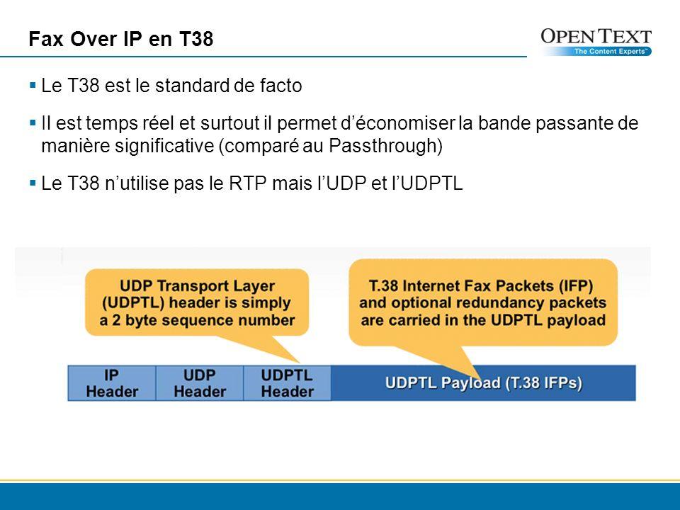 Fax Over IP en T38 Le T38 est le standard de facto Il est temps réel et surtout il permet déconomiser la bande passante de manière significative (comparé au Passthrough) Le T38 nutilise pas le RTP mais lUDP et lUDPTL