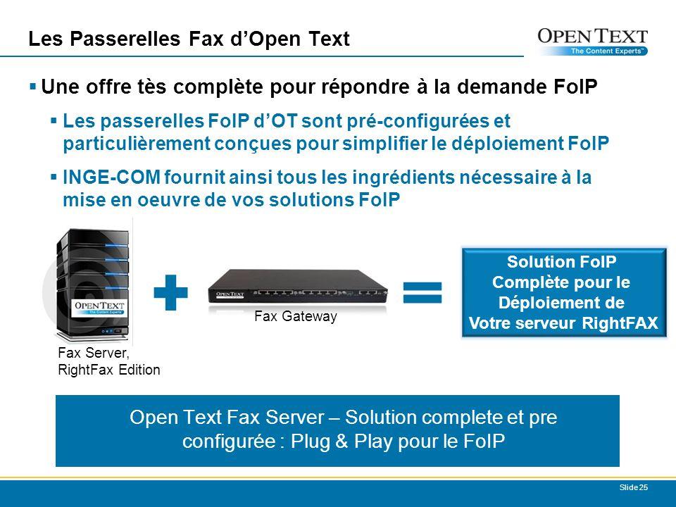 Les Passerelles Fax dOpen Text Une offre tès complète pour répondre à la demande FoIP Les passerelles FoIP dOT sont pré-configurées et particulièrement conçues pour simplifier le déploiement FoIP INGE-COM fournit ainsi tous les ingrédients nécessaire à la mise en oeuvre de vos solutions FoIP Slide 25 Fax Gateway Solution FoIP Complète pour le Déploiement de Votre serveur RightFAX Fax Server, RightFax Edition Open Text Fax Server – Solution complete et pre configurée : Plug & Play pour le FoIP