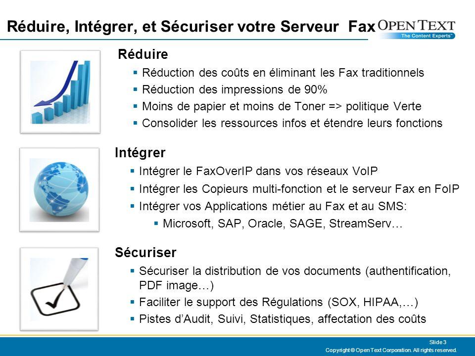 OpenText est le leader en Fax dEntreprise Copyright © Open Text Corporation 2008 - 2009.