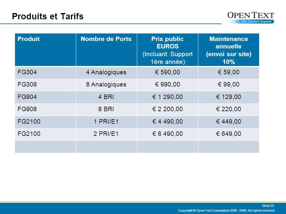 Produits et Tarifs Copyright © Open Text Corporation 2008 - 2009.