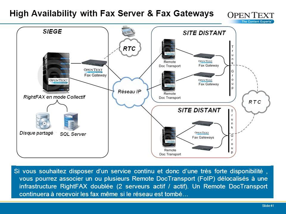 Slide 41 High Availability with Fax Server & Fax Gateways Si vous souhaitez disposer dun service continu et donc dune très forte disponibilité, vous pourrez associer un ou plusieurs Remote DocTransport (FoIP) délocalisés à une infrastructure RightFAX doublée (2 serveurs actif / actif).