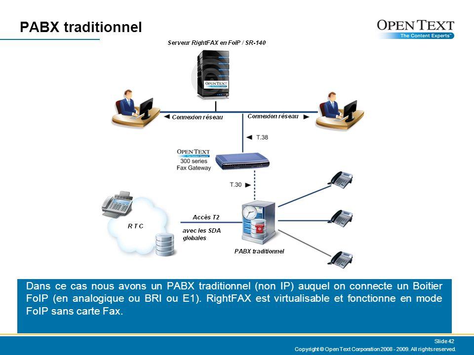 PABX traditionnel Dans ce cas nous avons un PABX traditionnel (non IP) auquel on connecte un Boitier FoIP (en analogique ou BRI ou E1).