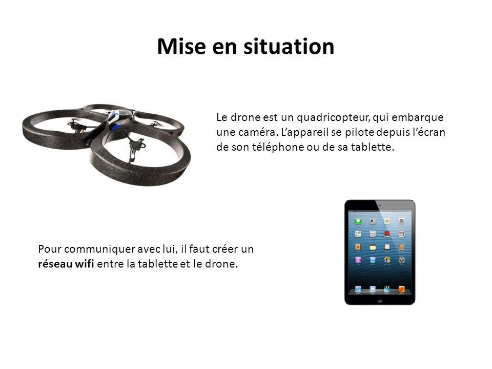 Mise en situation Le drone est un quadricopteur, qui embarque une caméra.