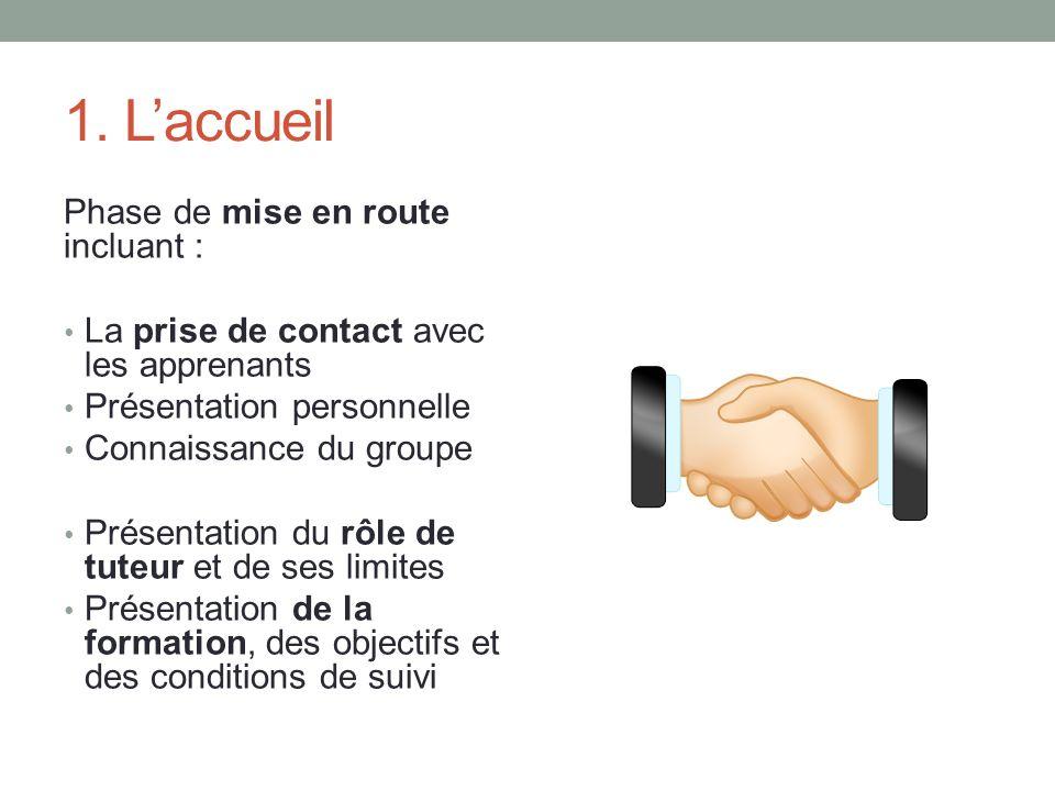 1. Laccueil Phase de mise en route incluant : La prise de contact avec les apprenants Présentation personnelle Connaissance du groupe Présentation du