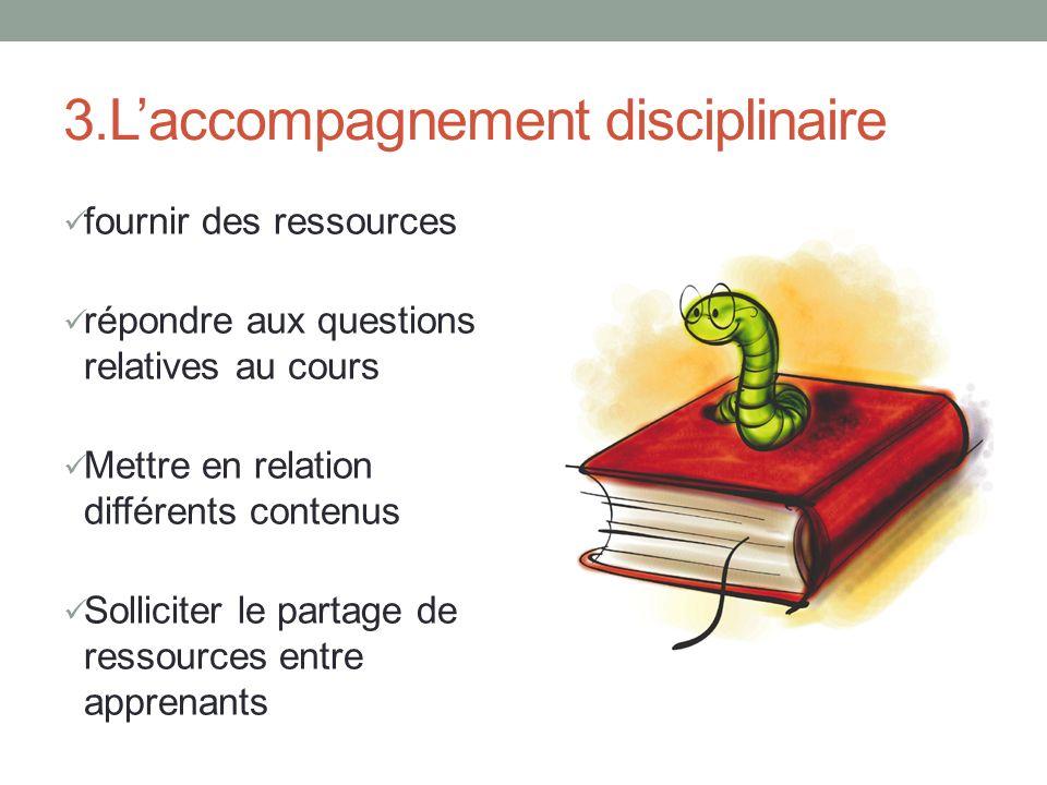 3.Laccompagnement disciplinaire fournir des ressources répondre aux questions relatives au cours Mettre en relation différents contenus Solliciter le partage de ressources entre apprenants