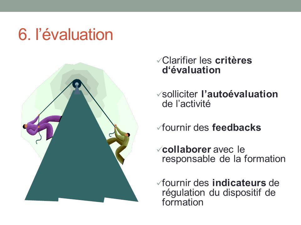 6. lévaluation Clarifier les critères dévaluation solliciter lautoévaluation de lactivité fournir des feedbacks collaborer avec le responsable de la f