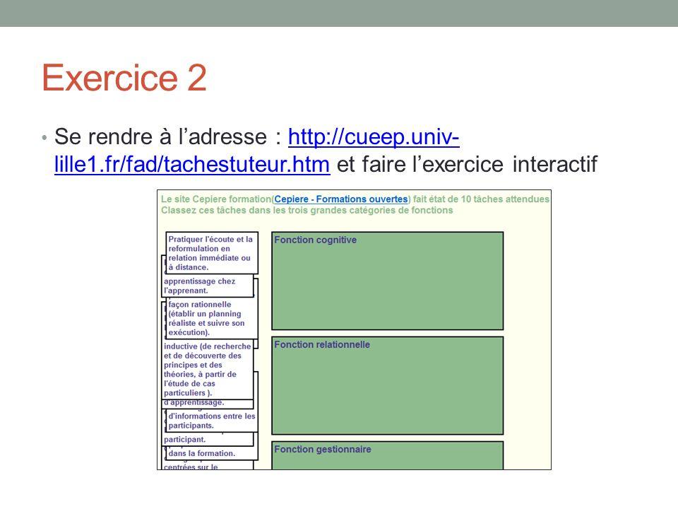 Exercice 2 Se rendre à ladresse : http://cueep.univ- lille1.fr/fad/tachestuteur.htm et faire lexercice interactifhttp://cueep.univ- lille1.fr/fad/tachestuteur.htm