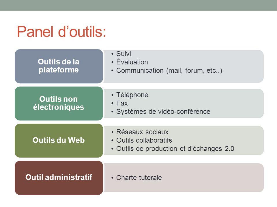 Panel doutils: Suivi Évaluation Communication (mail, forum, etc..) Outils de la plateforme Téléphone Fax Systèmes de vidéo-conférence Outils non élect